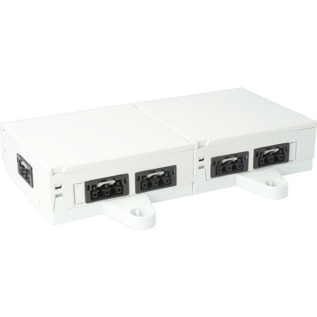 Steckbar 100% Gehäuse Multi-PD, WAGO WINSTA® MIDI, in: 2x 3pol H07V-U, out: 9x 3pol sw, 120x120x45 mm, lichtgrau