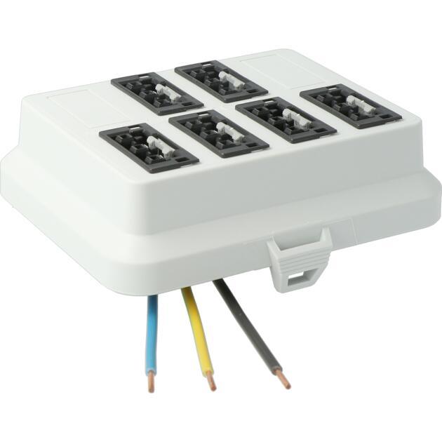 Steckbar Frontteil AK2, WAGO WINSTA® MIDI, in: 3pol H07V-U, out:6x 3pol sw L1, 125x100x42 mm, lichtgrau
