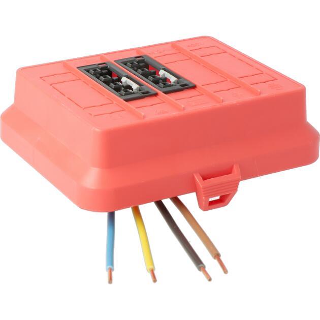 Steckbar Frontteil AK2, WAGO WINSTA® MIDI, in: 4pol H07V-U, out:2x4pol sw L1+L2, 125x100x42 mm, rot