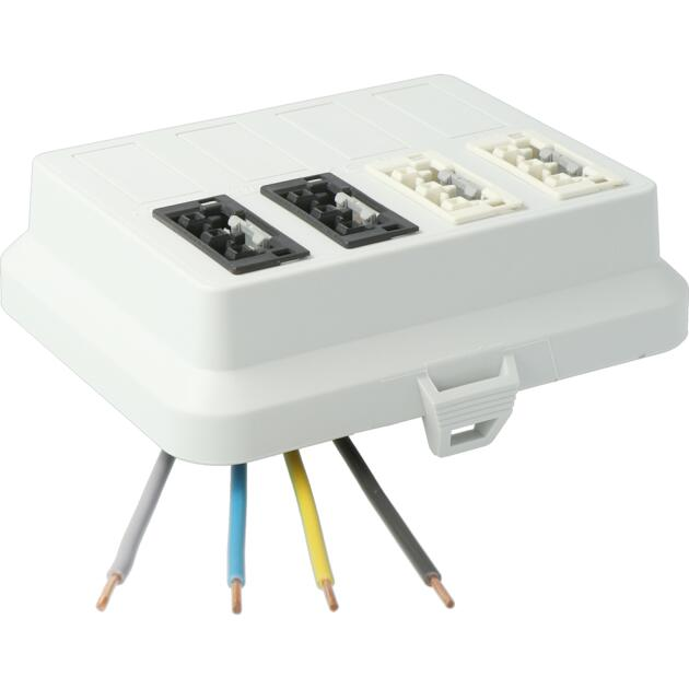 Steckbar Frontteil AK2, WAGO WINSTA® MIDI, in: 4pol H07V-U, out:je 2x3pol swL1/ wsL2, 125x100x42 mm, lichtgrau