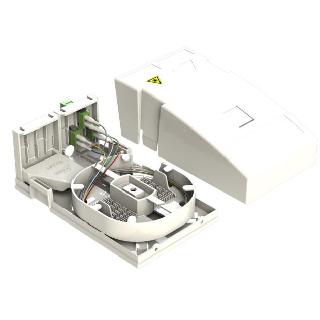 Hausübergabepunkt HÜP, 6 Fasern, 3 LC/APC DX, spleißfertig