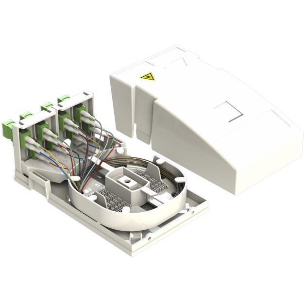 Hausübergabepunkt HÜP, 16 Fasern, 8 LC/APC DX, spleißfertig