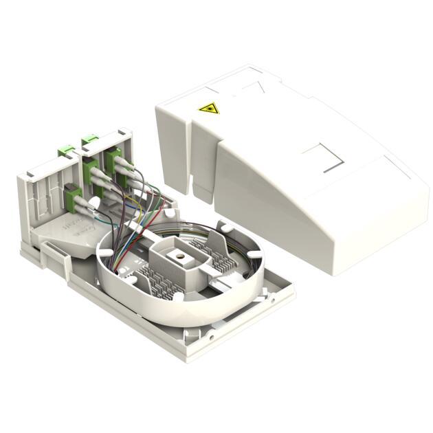 Hausübergabepunkt HÜP, 10 Fasern, 5 LC/APC DX, spleißfertig