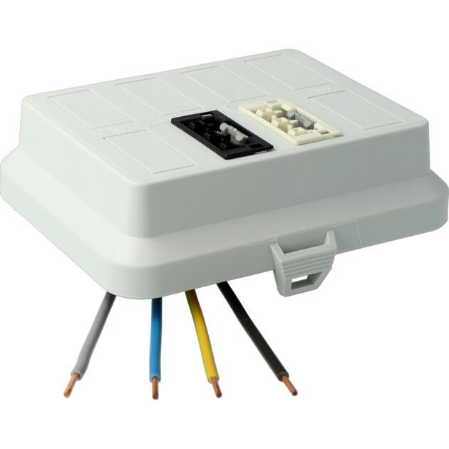Steckbar Frontteil AK2, WAGO WINSTA® MIDI, in: 4pol H07V-U, out:je 1x3pol swL1/ wsL2, 125x100x42 mm, lichtgrau
