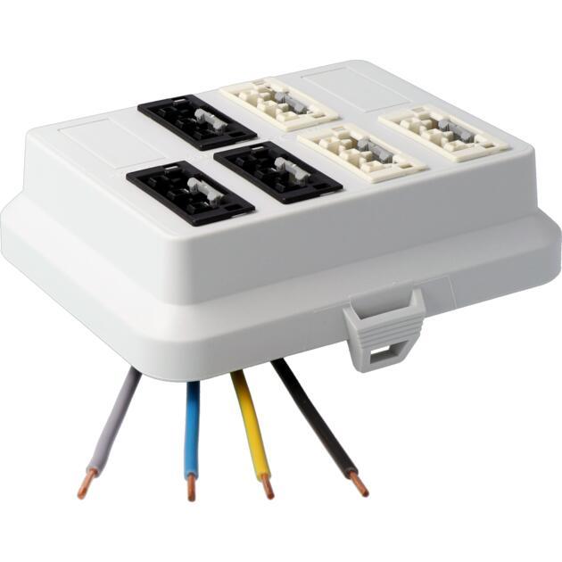 Steckbar Frontteil AK2, WAGO WINSTA MIDI, in: 4pol H07V-U, out:je 3x3pol swL1/ wsL2, 125x100x42 mm, lichtgrau
