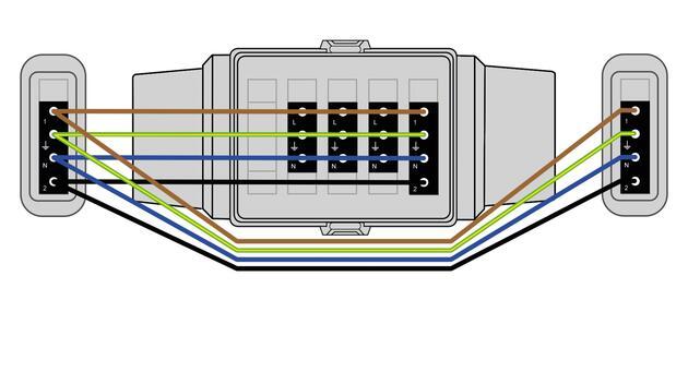 Steckbar 100% Gehäuse AK2, Wieland gesis® CLASSIC, in: 4pol sw out:3x3pol swL1, 1x4pol L1+L2, inkl. Montageplatte gewinkelt