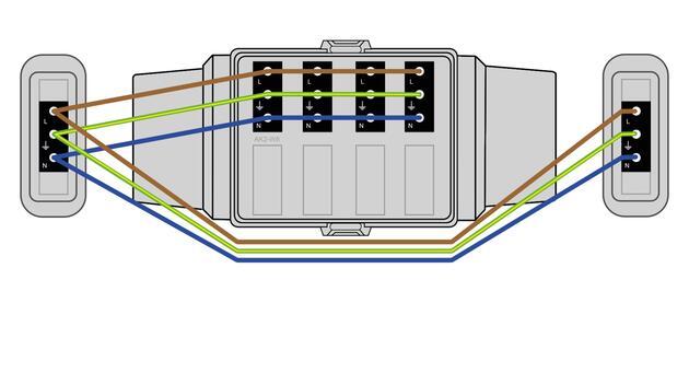 Steckbar 100% Gehäuse AK2, WAGO WINSTA® MIDI, in: 3pol sw, out:4x 3pol sw L1, inkl. Montageplatte gewinkelt