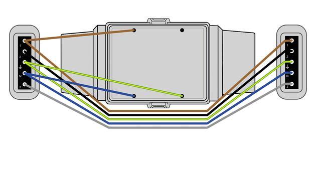 Steckbar 100% Gehäuse AK2, 2x Schuko, in: 5pol sw Wieland gesis® CLASSIC, inkl. Montageplatte gewinkelt