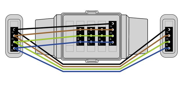 Steckbar 100% Gehäuse AK2, WAGO WINSTA, in: 4pol sw, out:3x3pol swL1, 1x4pol L1+2, inkl. Montageplatte gewinkelt