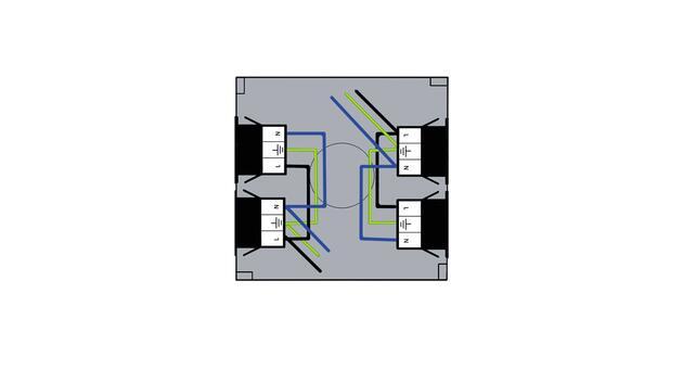 Steckbar Gehäuse PD, Wieland gesis® CLASSIC, in: 2x3pol H07V-U, out: je 2x 3pol sw/sw, 120x120x40 mm, lichtgrau