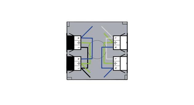 Steckbar Gehäuse PD, Wieland gesis® CLASSIC, in: 2x3pol H07V-U, out: je 2x 3pol sw/ws, 120x120x40 mm, lichtgrau
