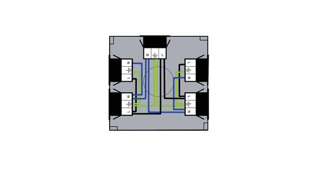 Steckbar 100% Gehäuse PD, Wieland GST18, in: 3pol sw, out:4x 3pol sw, 120x120x40 mm, lichtgrau