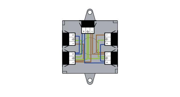 Steckbar 100% Gehäuse Multi-PD, WAGO WINSTA® MIDI, in: 2x 3pol H07V-U, out: 4x 3pol sw, 120x120x45 mm, lichtgrau