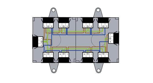 Steckbar 100% Gehäuse Multi-PD, WAGO, in: 2x 3pol H07V-U, out: 9x 3pol sw, 120x120x45 mm, lichtgrau