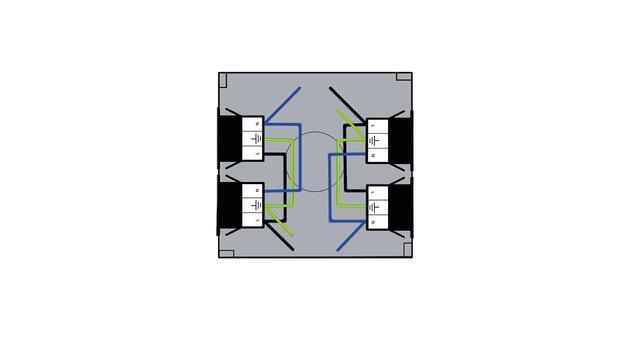 Steckbar Gehäuse PD, WAGO WINSTA, in: 2x3pol H07V-U, out:je 2x 3pol sw/sw, 120x120x40 mm, lichtgrau