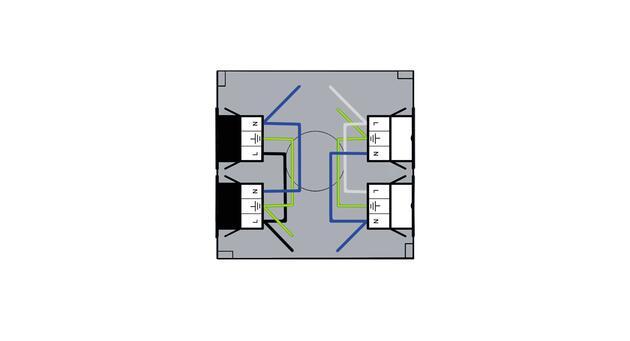 Steckbar Gehäuse PD, WAGO WINSTA® MIDI, in: 2x3pol H07V-U, out:je 2x 3pol sw/ws, 120x120x40 mm, lichtgrau