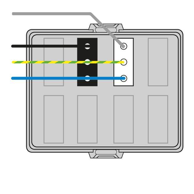 Steckbar Frontteil AK2, Wieland gesis® CLASSIC, in: 4pol H07V-U, out:je 1x3pol swL1/ wsL2, 125x100x42 mm, lichtgrau