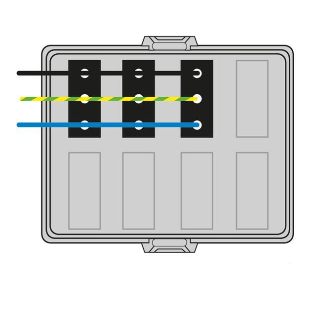 Steckbar Frontteil AK2, WAGO WINSTA® MIDI, in: 3pol H07V-U, out:3x 3pol sw L1, 125x100x42 mm, lichtgrau
