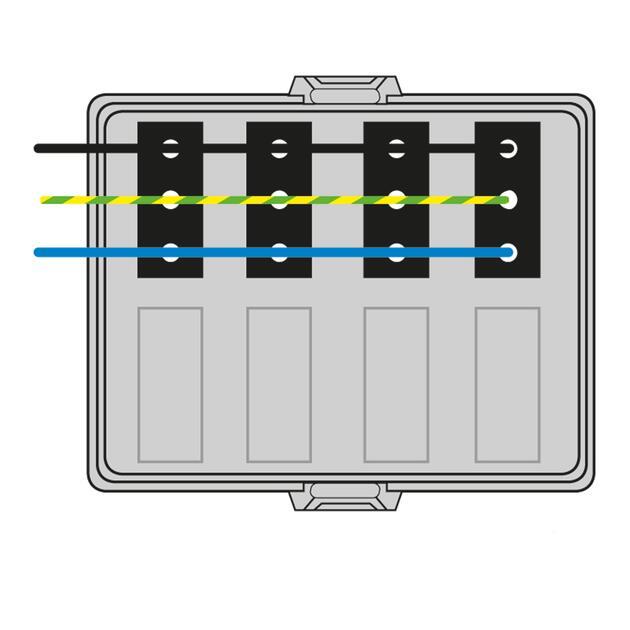 Steckbar Frontteil AK2, WAGO WINSTA® MIDI, in: 3pol H07V-U, out:4x 3pol sw L1, 125x100x42 mm, lichtgrau