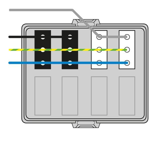 Steckbar Frontteil AK2, Wieland GST18, in: 4pol H07V-U, out:je 2x3pol swL1/ wsL2, 125x100x42 mm, lichtgrau