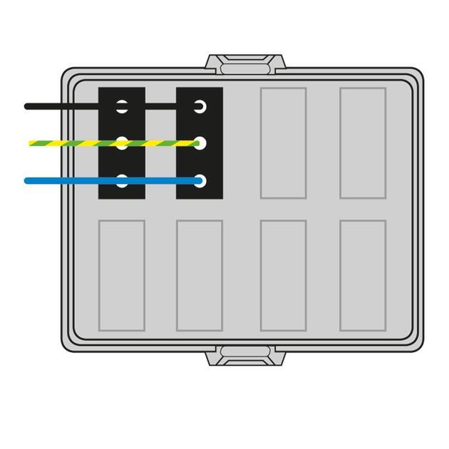 Steckbar Frontteil AK2, WAGO WINSTA MIDI, in: 3pol H07V-U, out:2x 3pol sw L1, 125x100x42 mm, lichtgrau