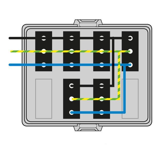 Steckbar Frontteil AK2, Wieland gesis® CLASSIC, in: 3pol H07V-U, out:6x 3pol sw L1, 125x100x42 mm, lichtgrau