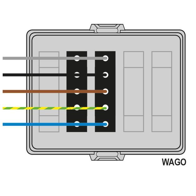 Steckbar Frontteil AK2, WAGO WINSTA® MIDI, in: 5pol H07V-U, out:2x5pol sw L1+L2+L3, 125x100x42 mm, lichtgrau