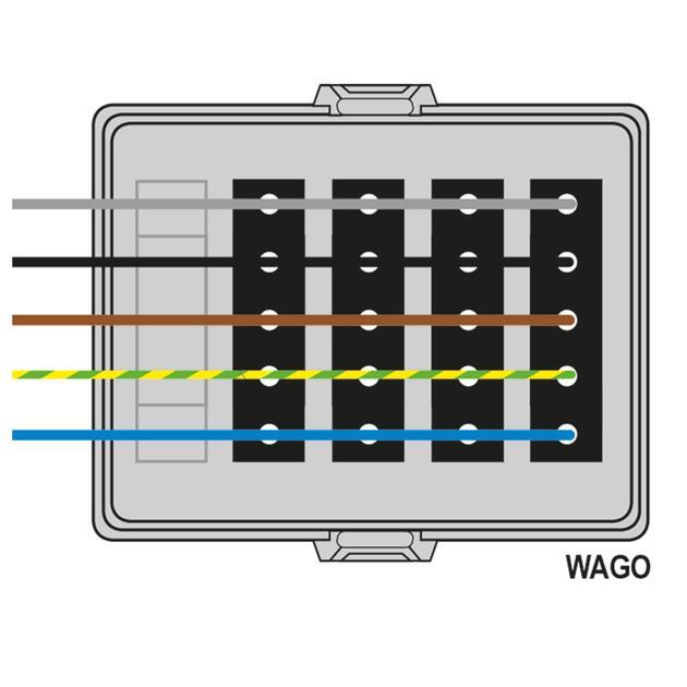Steckbar Frontteil AK2, WAGO WINSTA® MIDI, in: 5pol H07V-U, out:4x5pol sw L1+L2+L3, 125x100x42 mm, lichtgrau