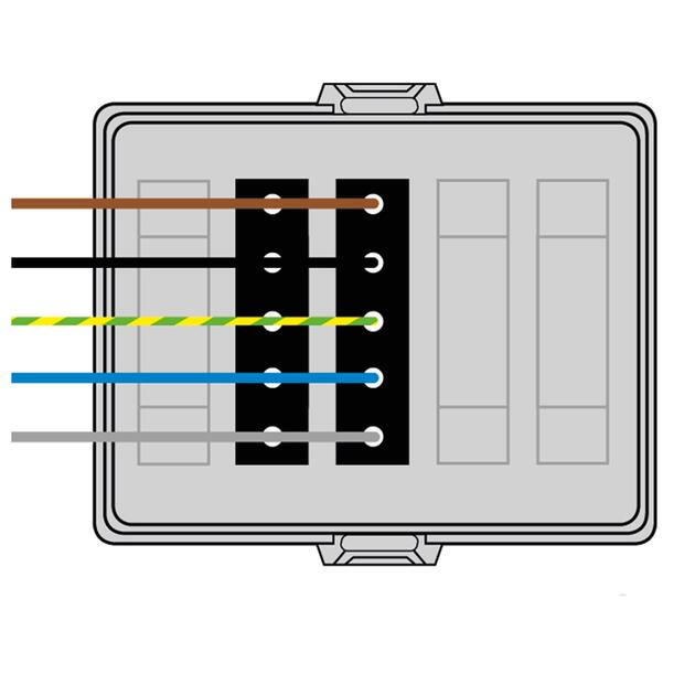 Steckbar Frontteil AK2, Wieland gesis® CLASSIC, in: 5pol H07V-U, out:2x5pol sw L1+L2+L3, 125x100x42 mm, lichtgrau