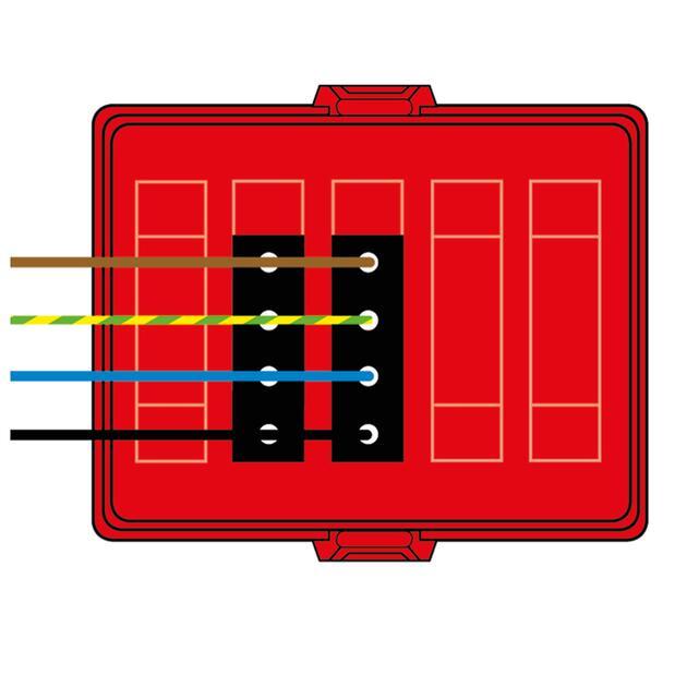 Steckbar Frontteil AK2, Wieland gesis® CLASSIC, in: 4pol H07V-U, out:2x4pol sw L1+L2, 125x100x42 mm, rot