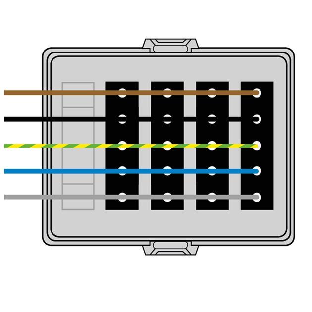 Steckbar Frontteil AK2, Wieland gesis® CLASSIC, in: 5pol H07V-U, out:4x5pol sw L1+L2+L3, 125x100x42 mm, lichtgrau