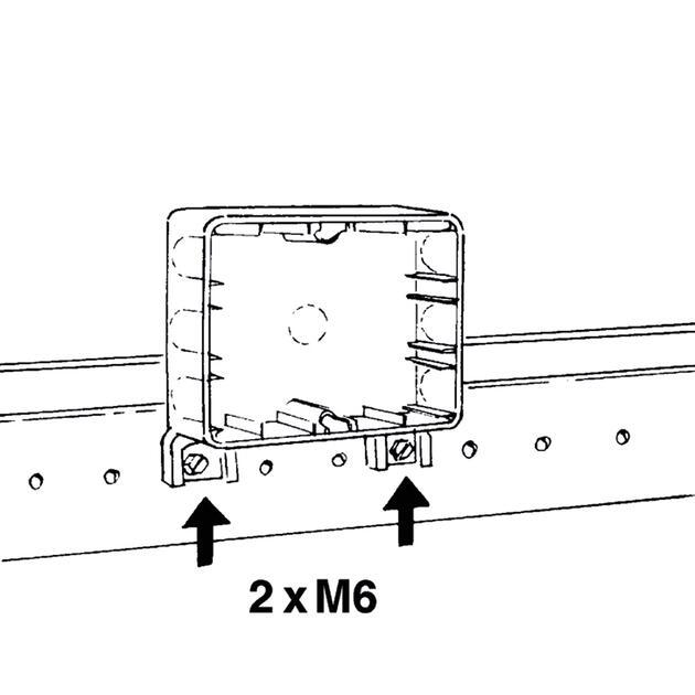 Steckbar Basis AK2, Schiebeeinf. 8-14 mm, für Kabelrinne mit Schrauben M6, 120x95x40 mm, lichtgrau