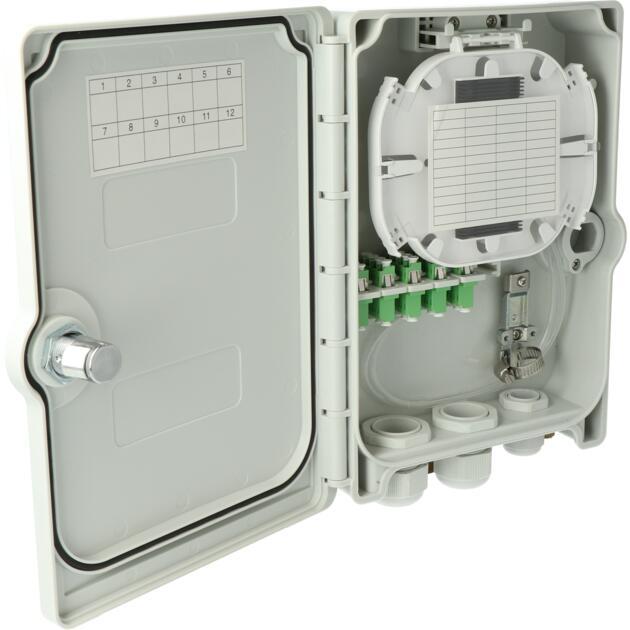 Kompakt Gebäudeverteiler, Gf-GV, 20 Fasern, CSS, 5 LC/APC QD, IP55