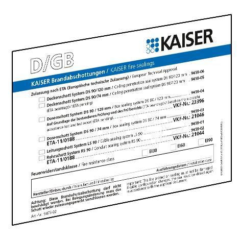Schott-Kennzeichnungsschild DE/GB/FR/NL